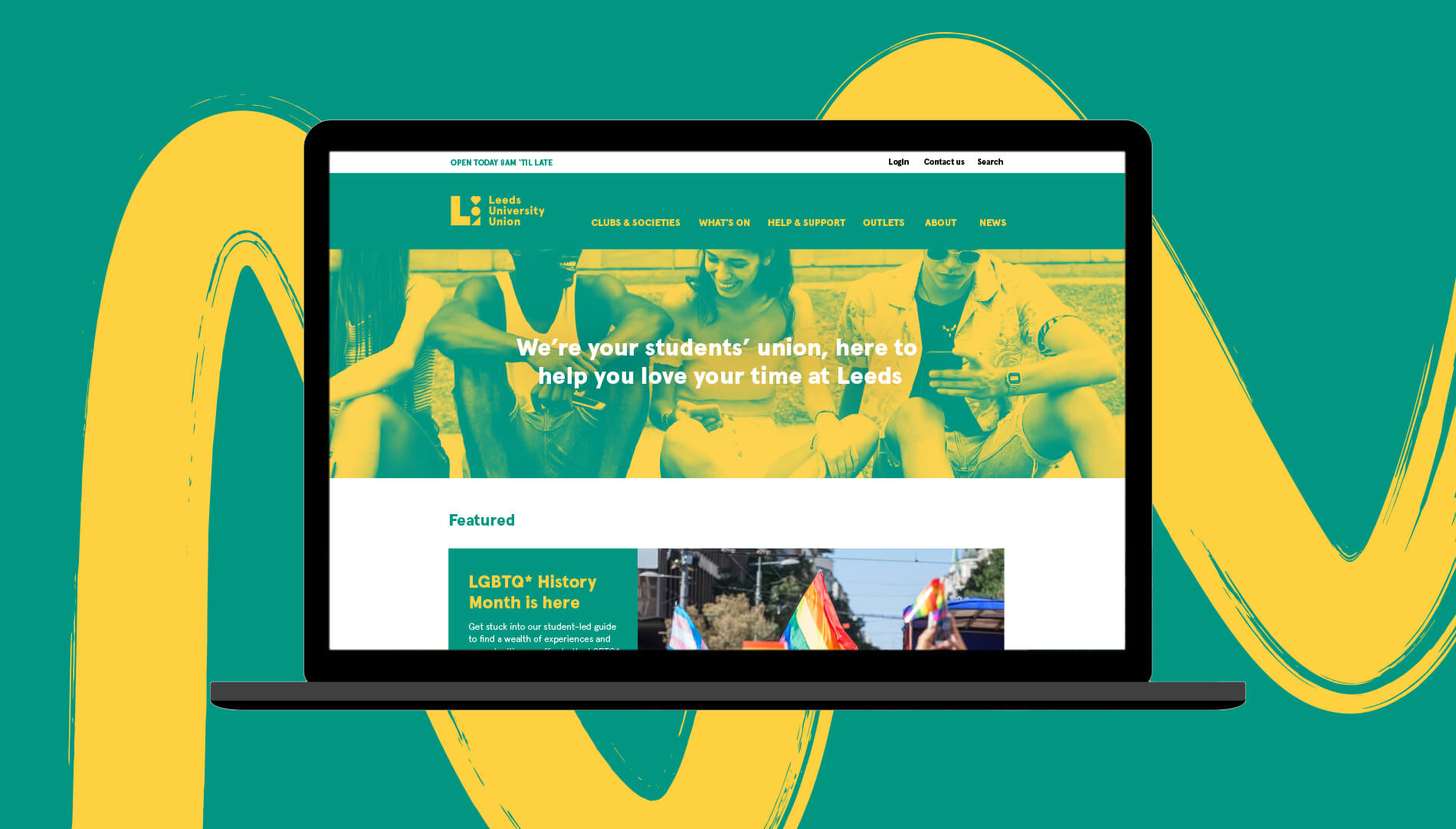 Homepage UX/UI design for Leeds University Union, shown here on a laptop.