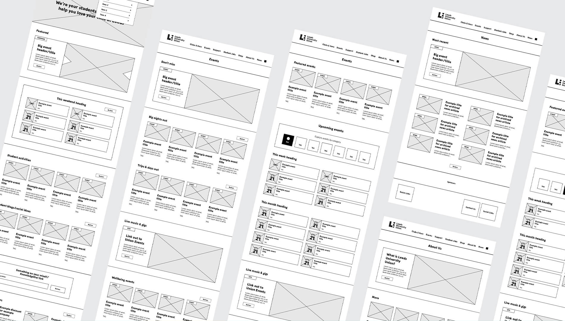 UX/UI wireframe designs for Leeds University Union's website design