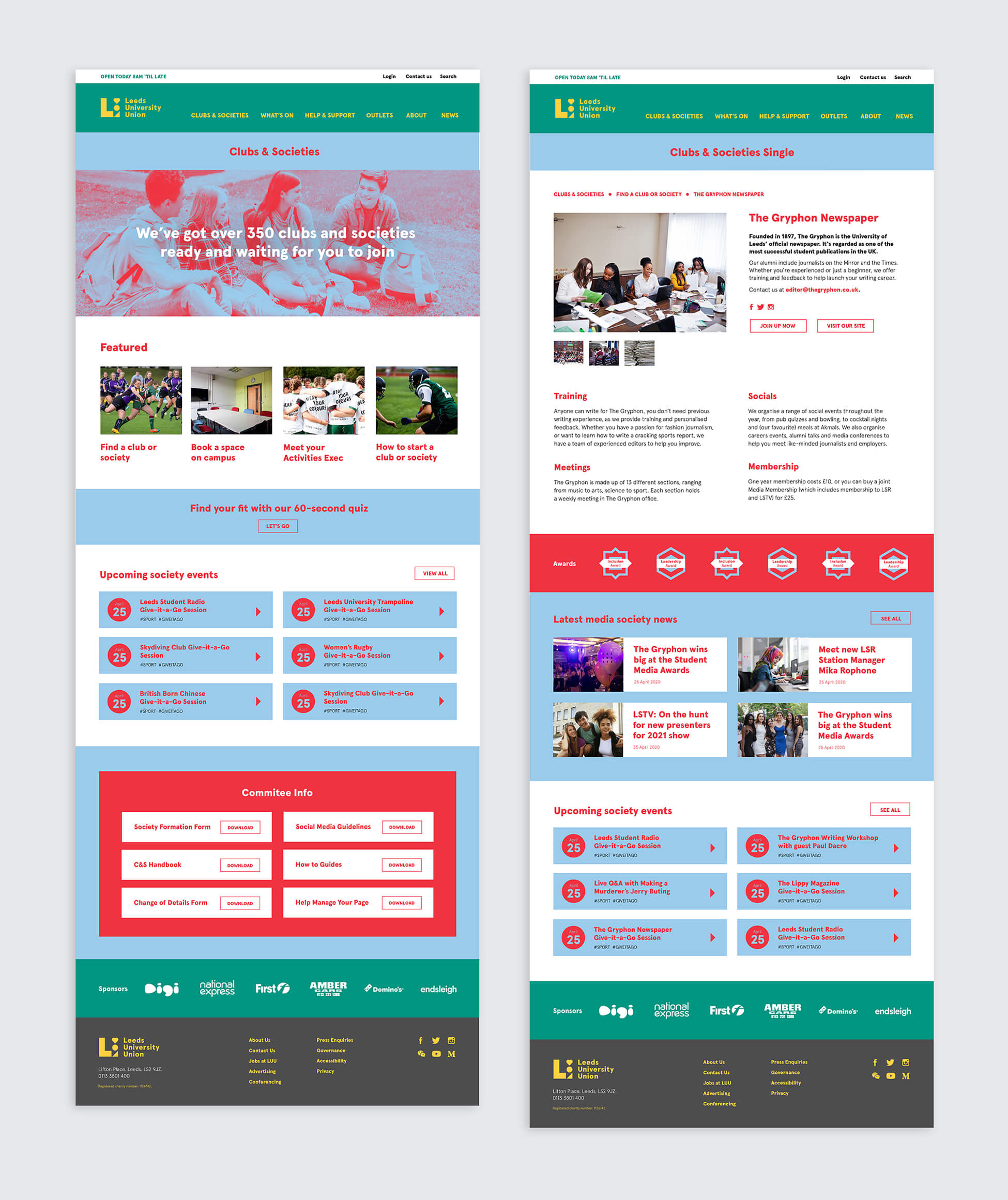 UX/UI layout for Leeds University Union's website redesign and refresh.